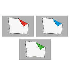 White blank paper with one bent corner with three vector
