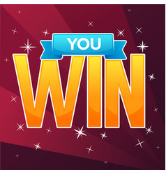 you win congratulation bright and glossy banner vector image vector image