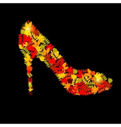 Shoes from autumn leaves vector