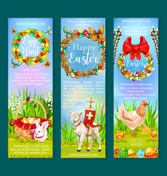 Easter holiday and egg hunt banner template set vector