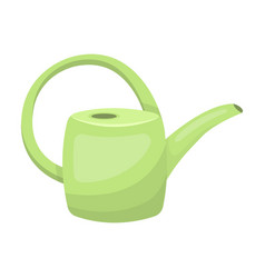 green plastic watering can for watering flowers in vector image