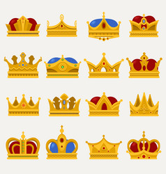 set of royal king or prince crown pope tiara vector image