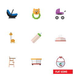 Flat icon baby set of child chair pinafore vector