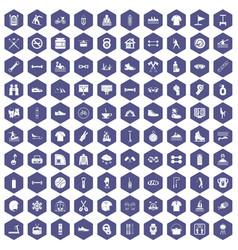100 sport life icons hexagon purple vector