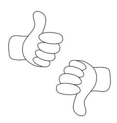 Thumbs up and thumbs down - like and dislike vector