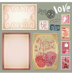 Set of vintage postcards for valentines day design vector