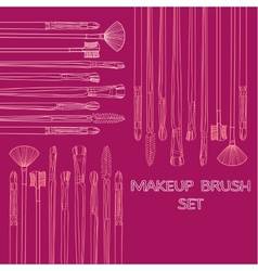 Makeup brush set vector