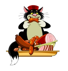 Cartoon black cat in the hat eats sausage vector