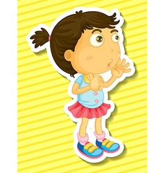 Sticker of a girl counting vector