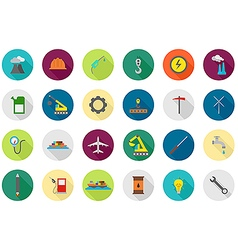 Industry round icons set vector