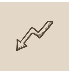 Arrow downward sketch icon vector