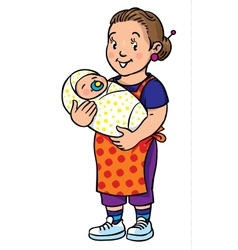 Funny mother or nanny with baby coloring book vector
