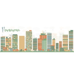 Abstract Panama Skyline with Color Buildings vector image
