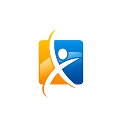 Abstract people fitness sport logo vector
