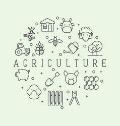 agriculture concept with different animals tools vector image