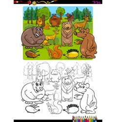 animals group coloring page vector image vector image