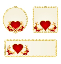 Banner and buttons Valentines day heart vector image vector image