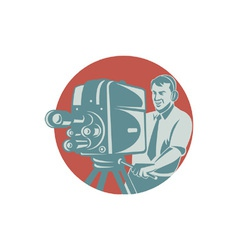 Cameraman filming with vintage tv camera vector