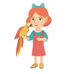 caucasian little girl holding parrot on her hand vector image