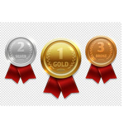 champion gold silver and bronze award medals with vector image vector image