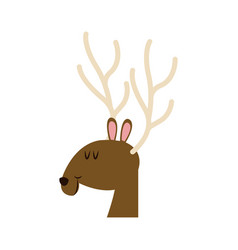 Christmas face reindeer horns image vector