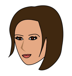 color image cartoon side profile face woman with vector image vector image