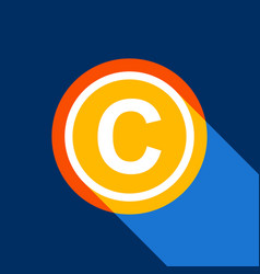 Copyright sign white icon on vector