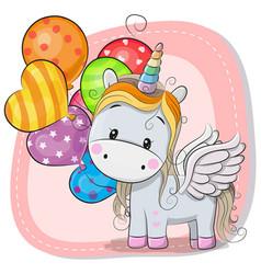 cute cartoon unicorn with balloon vector image vector image