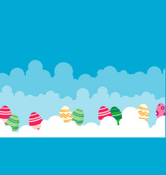 Easter with egg on cloud landscape vector