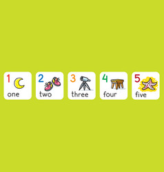 Education cards for learning to count from 1 to 5 vector
