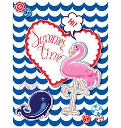 Flamingo card 3 380 vector