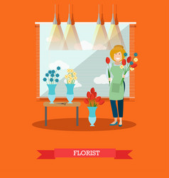 Florist concept in flat style vector