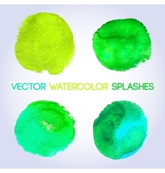 Green watercolor round shaped design elements vector image vector image