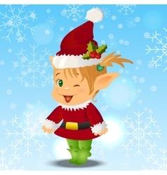 Happy smiling boy christmas santa s elf vector