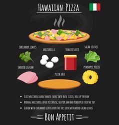 hawaiian pizza recipe on chalkboard vector image vector image