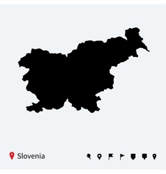 High detailed map of slovenia with navigation pins vector