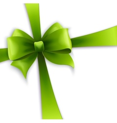 Invitation card with green holiday ribbon and bow vector