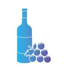 line wine bottle with grape fruit vector image vector image
