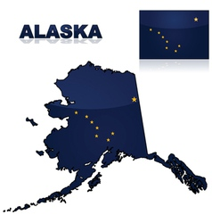 Map and flag of Alaska vector image vector image