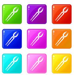 Metal scissors set 9 vector