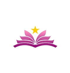 open book flower beauty star abstract logo vector image