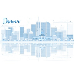 Outline denver skyline with blue buildings vector