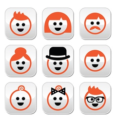 People with ginger hair buttons set vector image