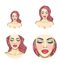 pop art avatar icon - sexy woman s face vector image vector image