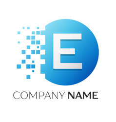 Realistic letter e logo in colorful circle vector