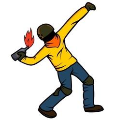 Rebel throwing molotov cocktail vector