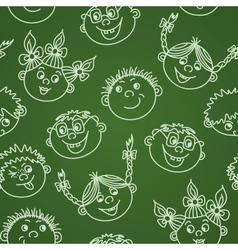 Seamless doodle smiling kids faces on chalkboard vector image vector image