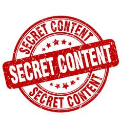Secret content red grunge stamp vector