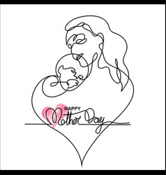 simple line art of a mother holding her baby vector image vector image