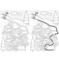Skiing maze vector
